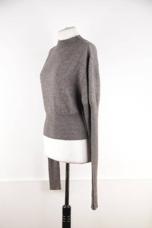 RICK OWENS Gray Wool CROPPED JUMPER Long Sleeve SWEATER Mountain F/W 12 Sz S  In Good Condition For Sale In Rome, IT