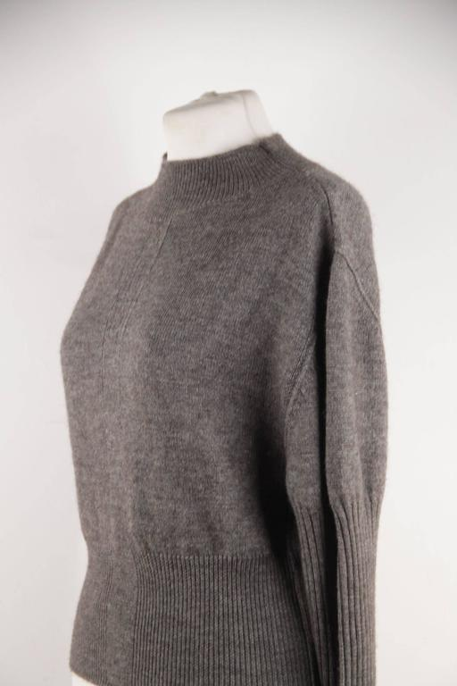 RICK OWENS Gray Wool CROPPED JUMPER Long Sleeve SWEATER Mountain F/W 12 Sz S  For Sale 2