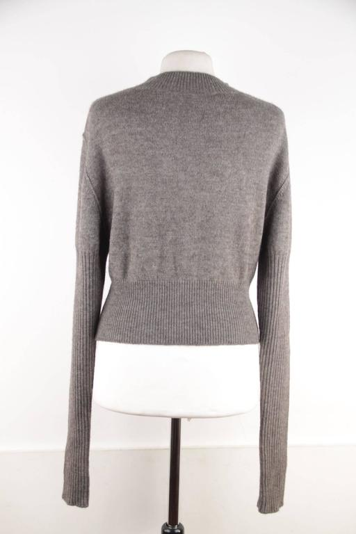 RICK OWENS Gray Wool CROPPED JUMPER Long Sleeve SWEATER Mountain F/W 12 Sz S  For Sale 3