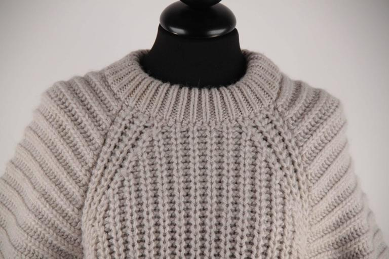 BALENCIAGA Beige Gray CHUNKY KNIT JUMPER Cropped Sleeves Sweater ...