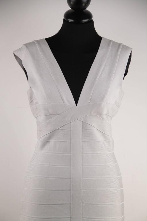 HERVE LEGER Pearl Gray Bodycon BANDAGE DRESS Sleeveless V NECK Size M CP For Sale 1