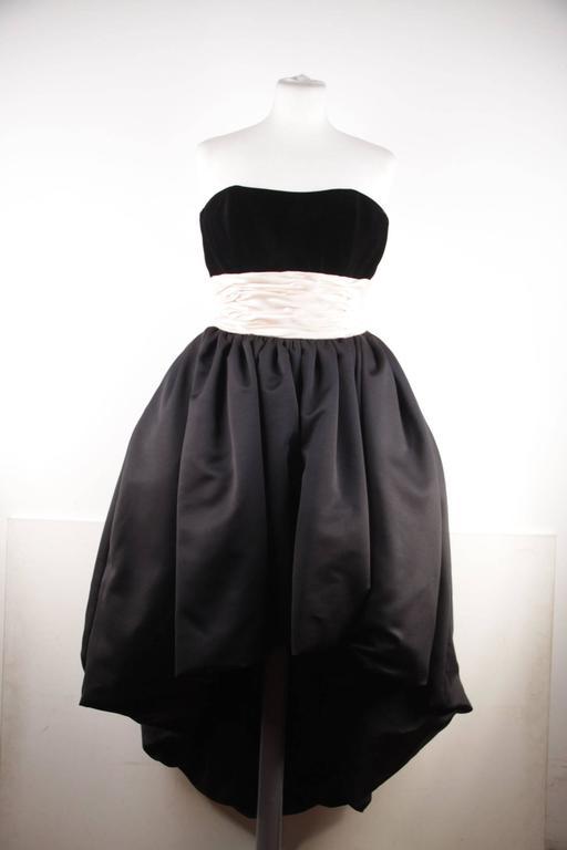VICTOR COSTA Vintage Black & Pink BUSTIER PROM DRESS w/ Dip Hem SIZE 8 US 5