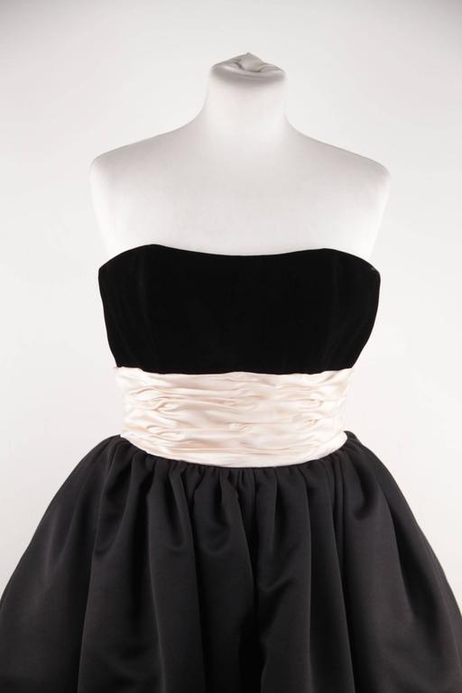 VICTOR COSTA Vintage Black & Pink BUSTIER PROM DRESS w/ Dip Hem SIZE 8 US 6