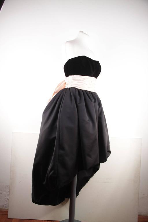 VICTOR COSTA Vintage Black & Pink BUSTIER PROM DRESS w/ Dip Hem SIZE 8 US 3