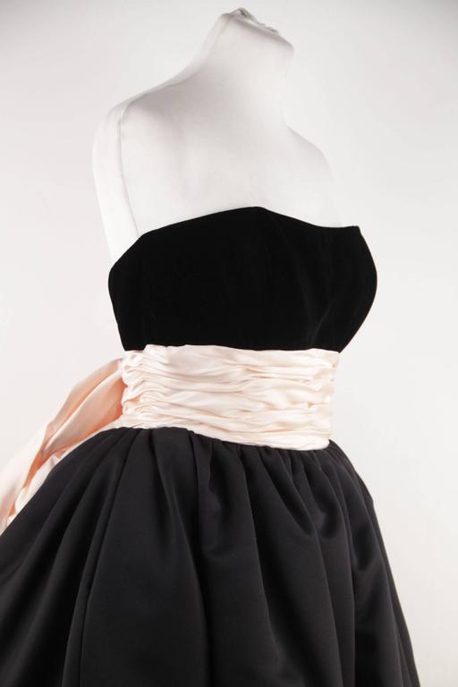 VICTOR COSTA Vintage Black & Pink BUSTIER PROM DRESS w/ Dip Hem SIZE 8 US 2