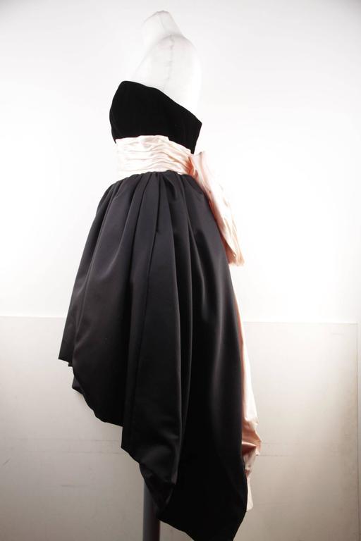 VICTOR COSTA Vintage Black & Pink BUSTIER PROM DRESS w/ Dip Hem SIZE 8 US 4