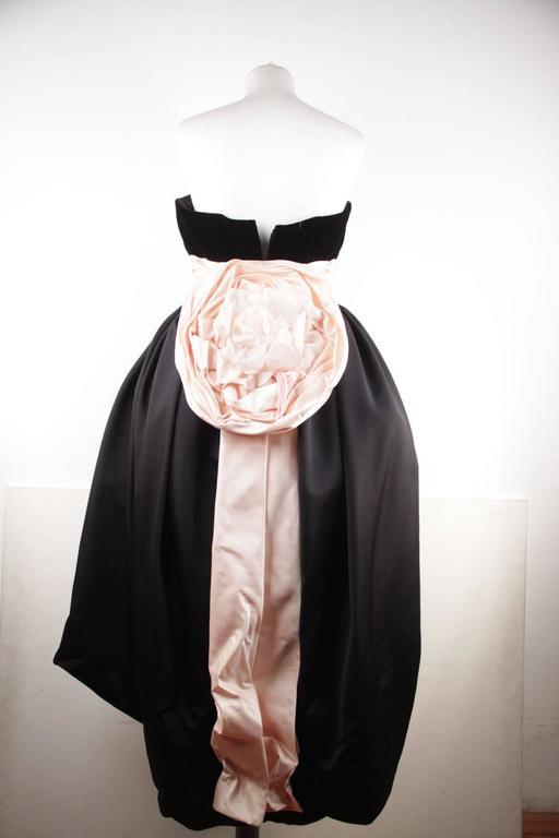VICTOR COSTA Vintage Black & Pink BUSTIER PROM DRESS w/ Dip Hem SIZE 8 US 8
