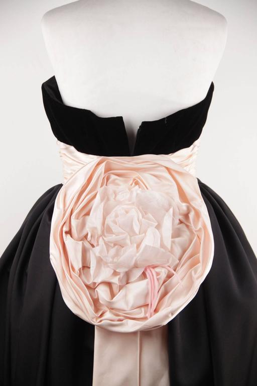 VICTOR COSTA Vintage Black & Pink BUSTIER PROM DRESS w/ Dip Hem SIZE 8 US 7