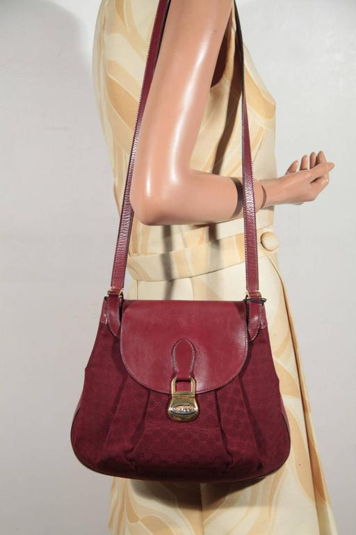 GUCCI VINTAGE Burgundy GG MONOGRAM Canvas and Leather SHOULDER BAG ...