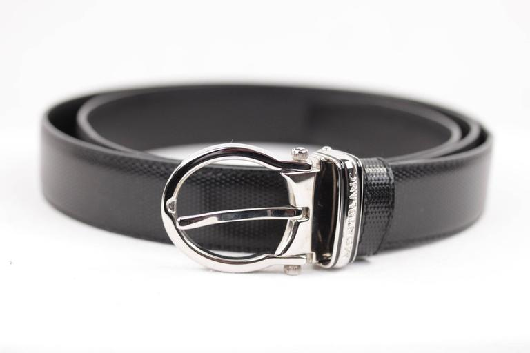 MONTBLANC Black Leather MEISTERSTUCK Men BELT w/ Silver Metal BUCKLE w/ BOX 2