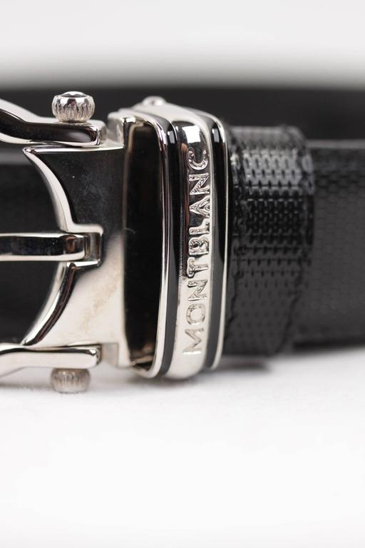 MONTBLANC Black Leather MEISTERSTUCK Men BELT w/ Silver Metal BUCKLE w/ BOX 5