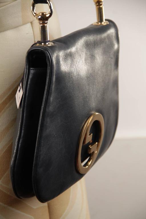 614c495ad6b396 GUCCI Vintage Blue Leather BLONDIE SHOULDER BAG Flap Purse w/ Big GG LOGO  For Sale