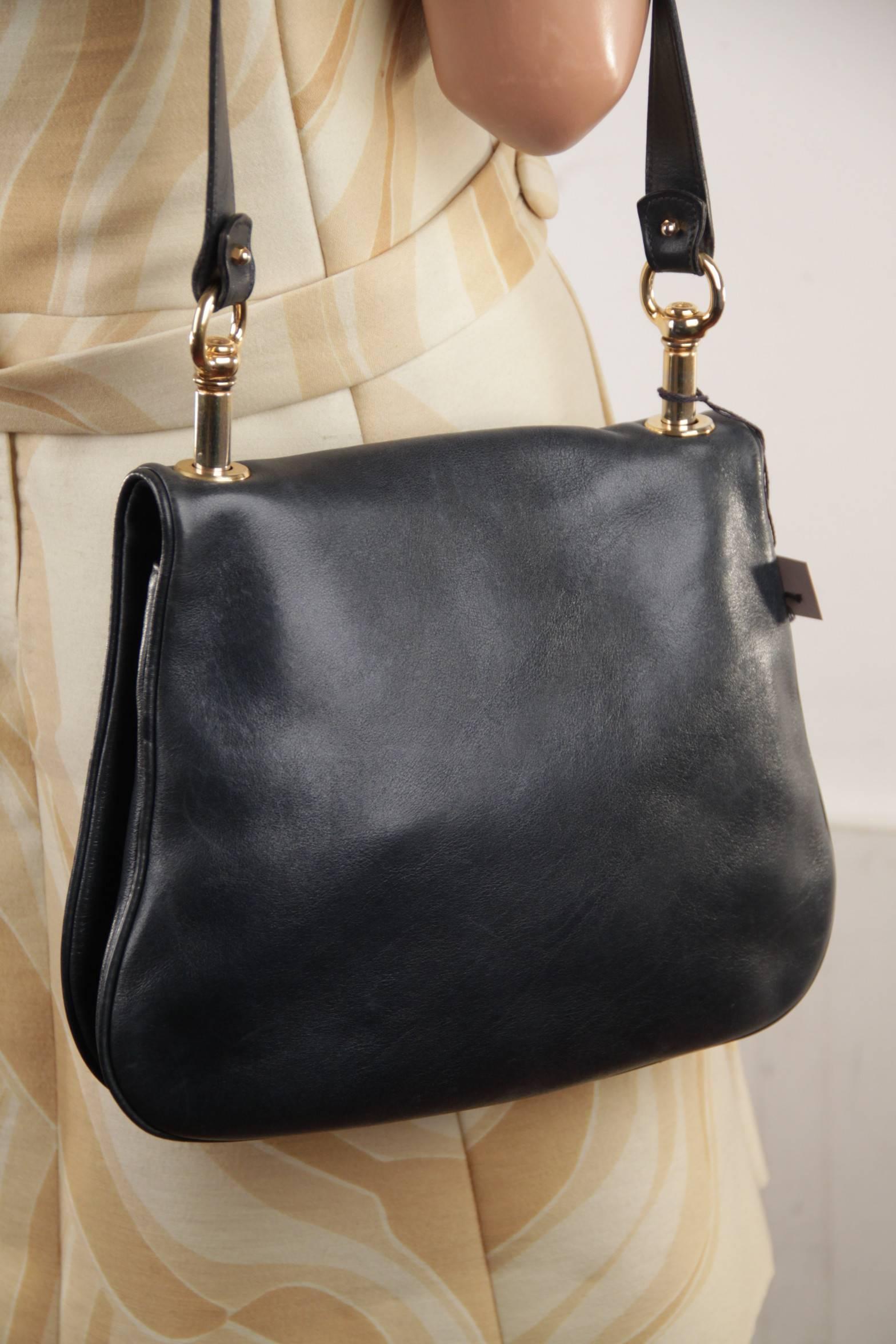 6f533cf4409624 GUCCI Vintage Blue Leather BLONDIE SHOULDER BAG Flap Purse w/ Big GG LOGO  at 1stdibs