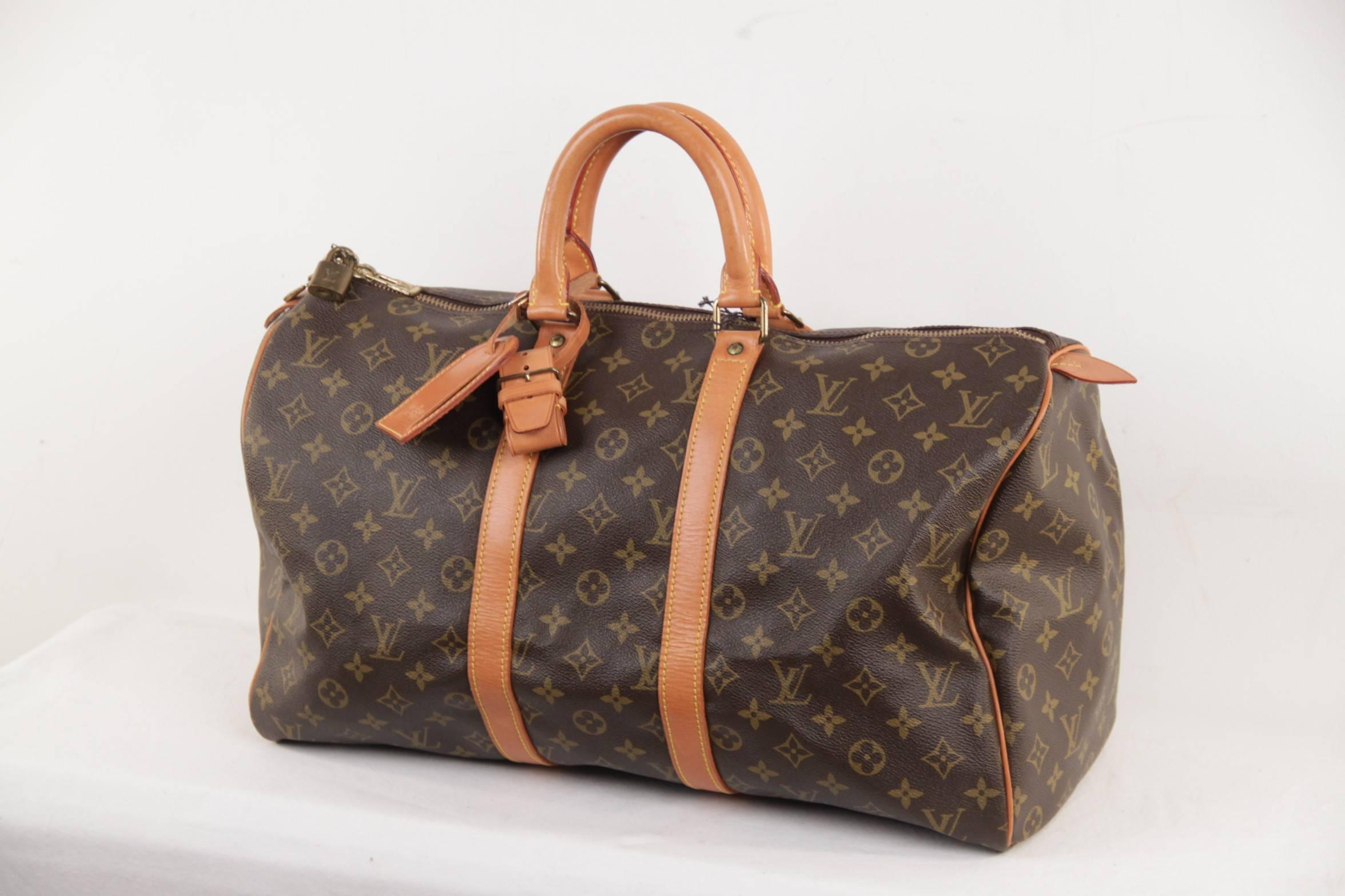 dbcf2f42ce7d LOUIS VUITTON Vintage Brown Monogram Canvas KEEPALL 45 Duffle Bag TRAVEL at  1stdibs