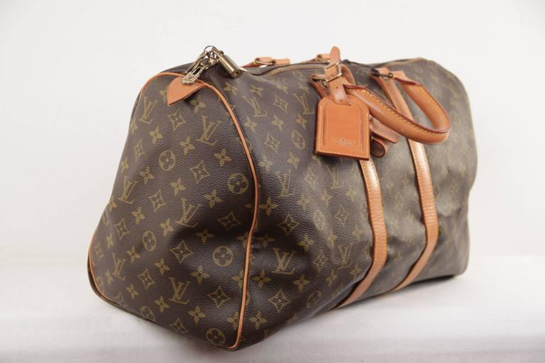 Black Louis Vuitton Vintage Brown Monogram Canvas Keepall 45 Duffle Bag Travel For