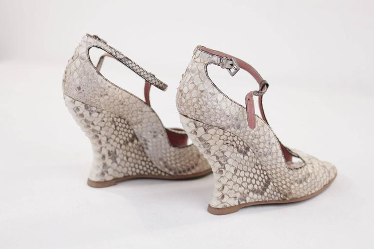Brown AZZEDINE ALAIA Beige SNAKE Reptile Leather WEDGES SHOES Size 38 1/2 w/ BOX  For Sale