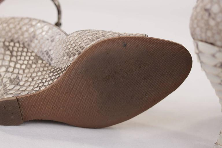 Women's AZZEDINE ALAIA Beige SNAKE Reptile Leather WEDGES SHOES Size 38 1/2 w/ BOX  For Sale