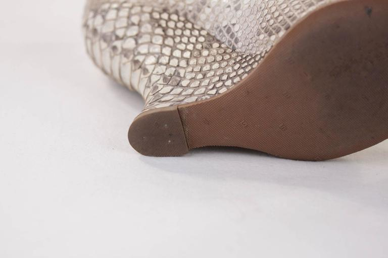 AZZEDINE ALAIA Beige SNAKE Reptile Leather WEDGES SHOES Size 38 1/2 w/ BOX  For Sale 1