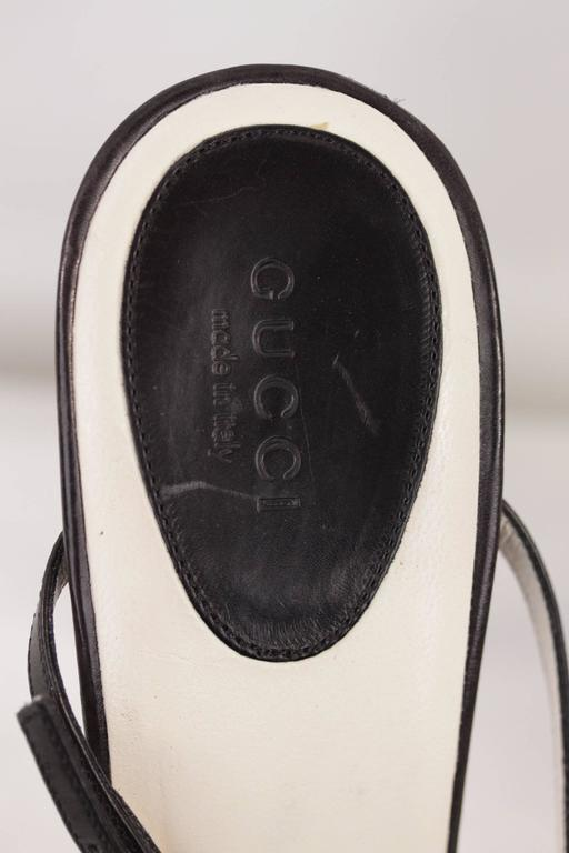 GUCCI Italian BICOLOR Canvas & Leather PUMPS Heels SHOES Mules w/Strap Sz 40C For Sale 2