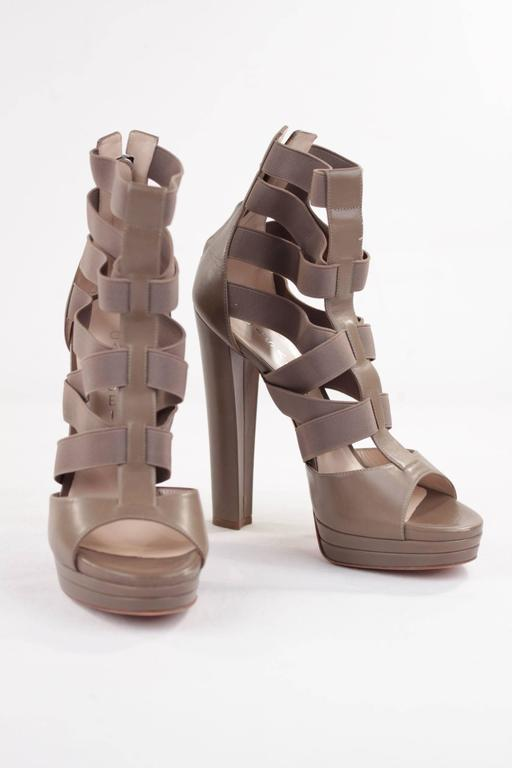 CASADEI Argilla Leather PLATFORM Elastic Strappy SANDALS Heels SHOES 40  3