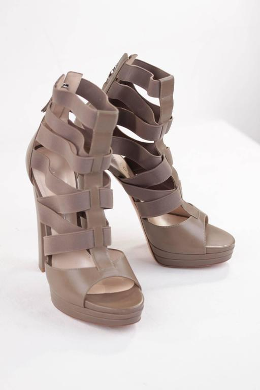 CASADEI Argilla Leather PLATFORM Elastic Strappy SANDALS Heels SHOES 40  5