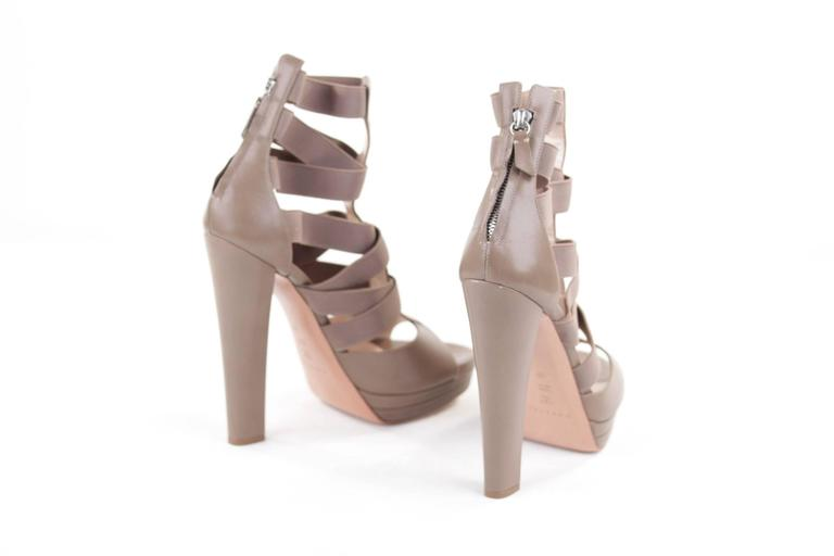 CASADEI Argilla Leather PLATFORM Elastic Strappy SANDALS Heels SHOES 40  2
