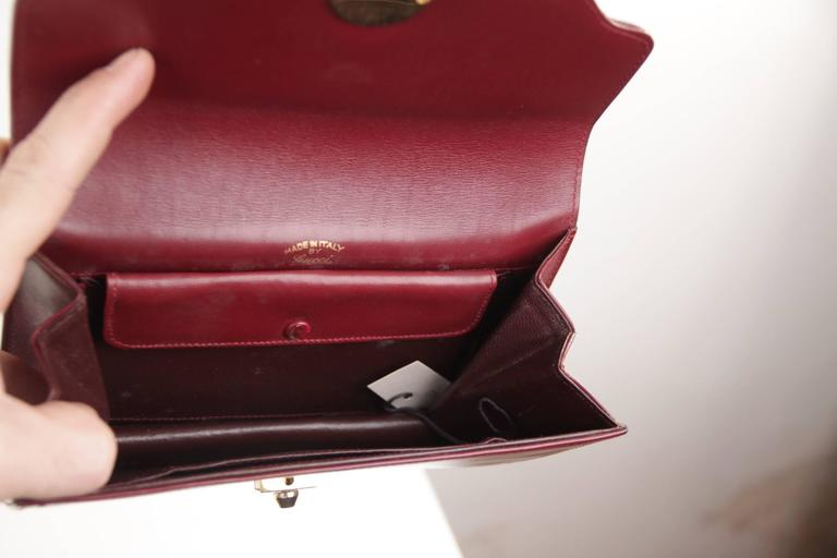 7fb9459c72d GUCCI Italian VINTAGE Burgundy Leather CLUTCH Handbag PURSE Evening ...