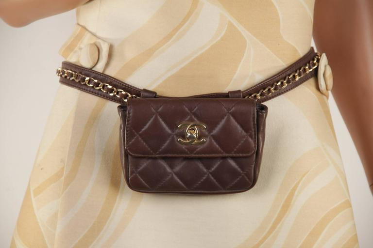 CHANEL Vintage Brown QUILTED Leather WAIST PURSE with Golden CHAIN BELT 2
