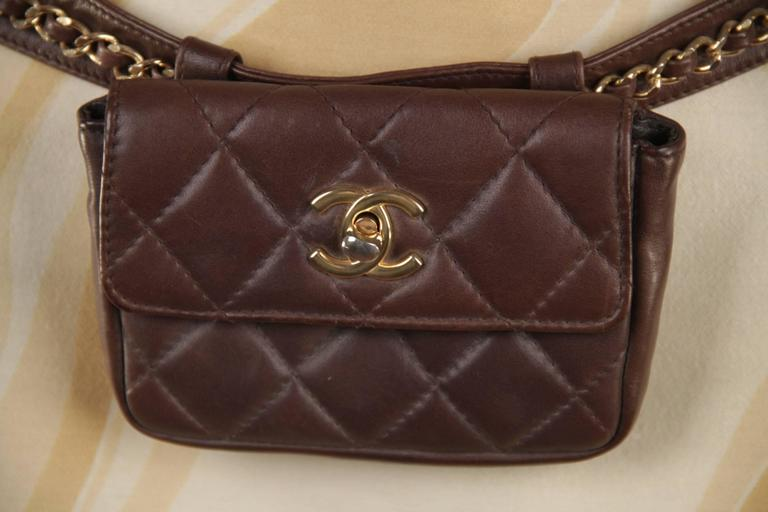 CHANEL Vintage Brown QUILTED Leather WAIST PURSE with Golden CHAIN BELT 4