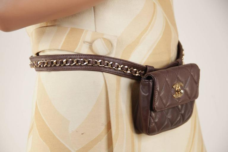 CHANEL Vintage Brown QUILTED Leather WAIST PURSE with Golden CHAIN BELT 3