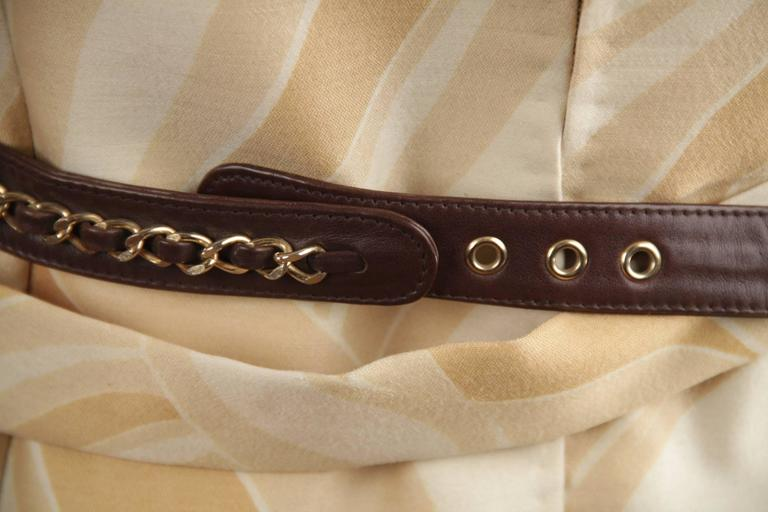 CHANEL Vintage Brown QUILTED Leather WAIST PURSE with Golden CHAIN BELT 8