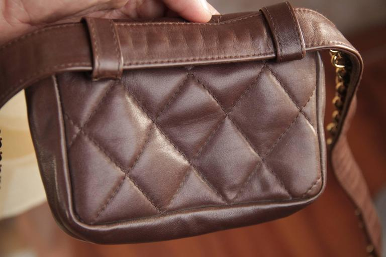 CHANEL Vintage Brown QUILTED Leather WAIST PURSE with Golden CHAIN BELT 5