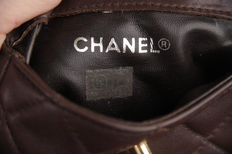 CHANEL Vintage Brown QUILTED Leather WAIST PURSE with Golden CHAIN BELT 9