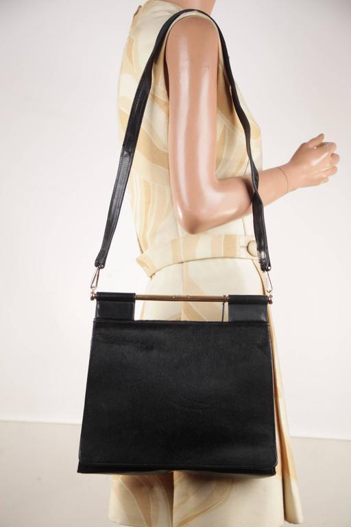 Gucci Italian Black Pony Hair & Leather Handbag Shoulder Bag W/ Metal Handle ppRKS