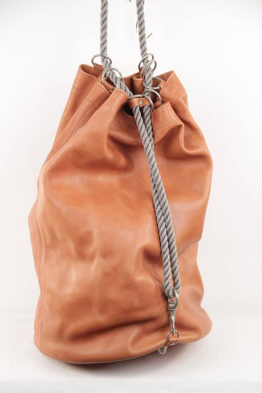 GRANATA SELLERIA Tan Leather OVERSIZED SAILOR BAG Duffel Weekender TRAVEL 3