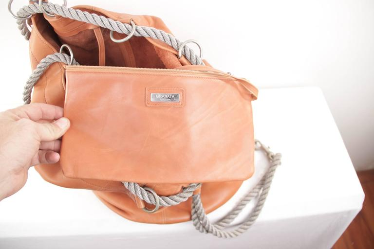 GRANATA SELLERIA Tan Leather OVERSIZED SAILOR BAG Duffel Weekender TRAVEL 8
