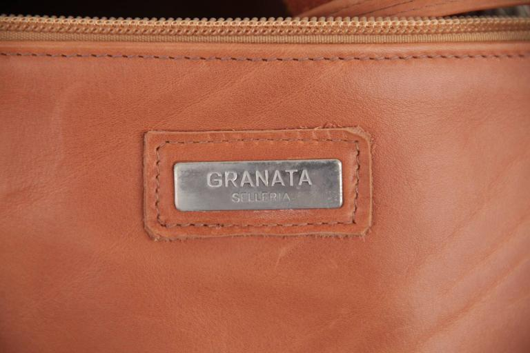 GRANATA SELLERIA Tan Leather OVERSIZED SAILOR BAG Duffel Weekender TRAVEL 6