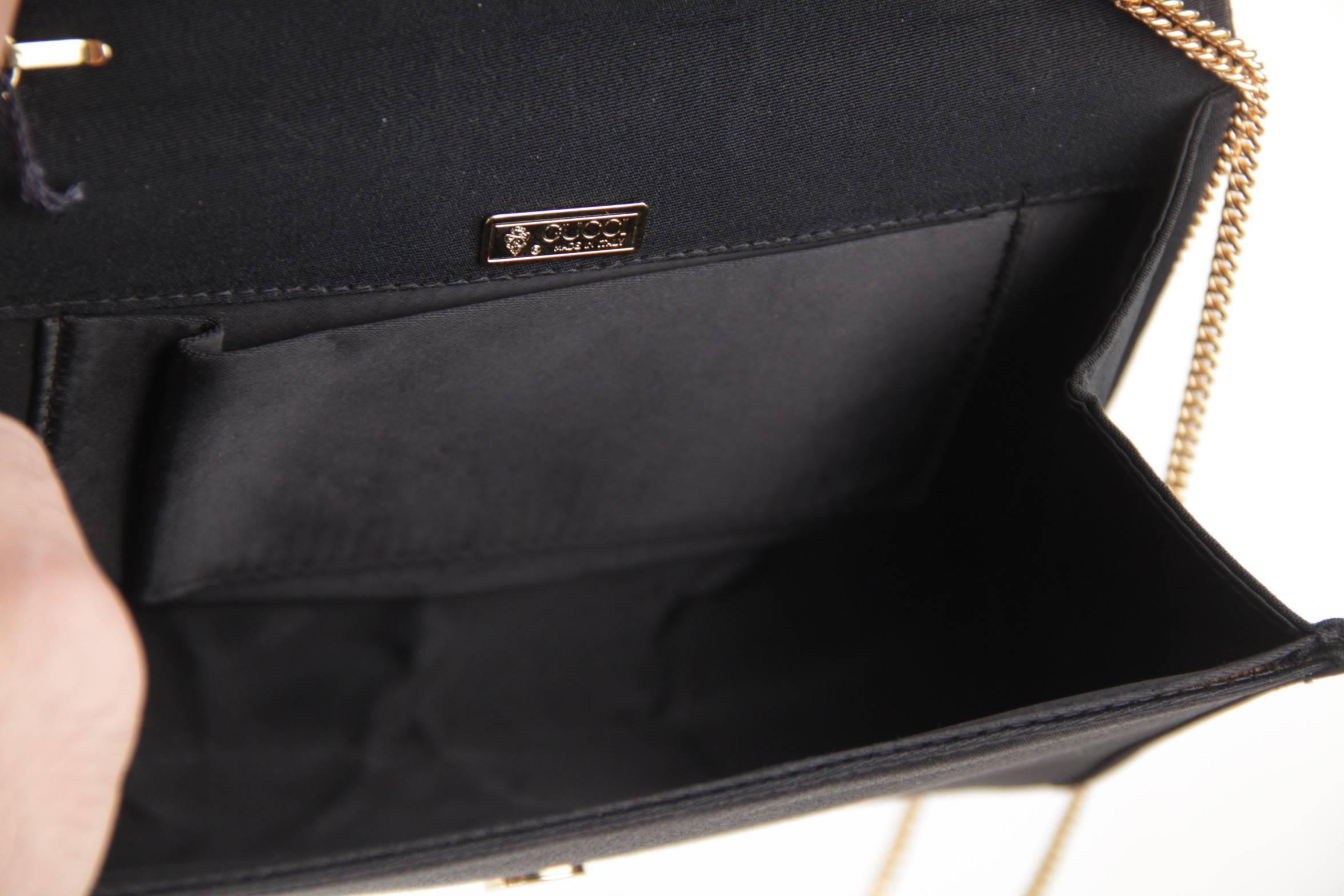 ed8fae6ae19 GUCCI Italian VINTAGE Black Fabric CLUTCH Handbag PURSE Evening Bag w   Chain at 1stdibs