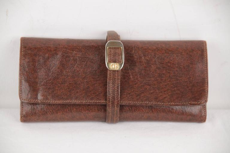 Gucci Italian Vintage Brown Leather Jewelry Roll Holder