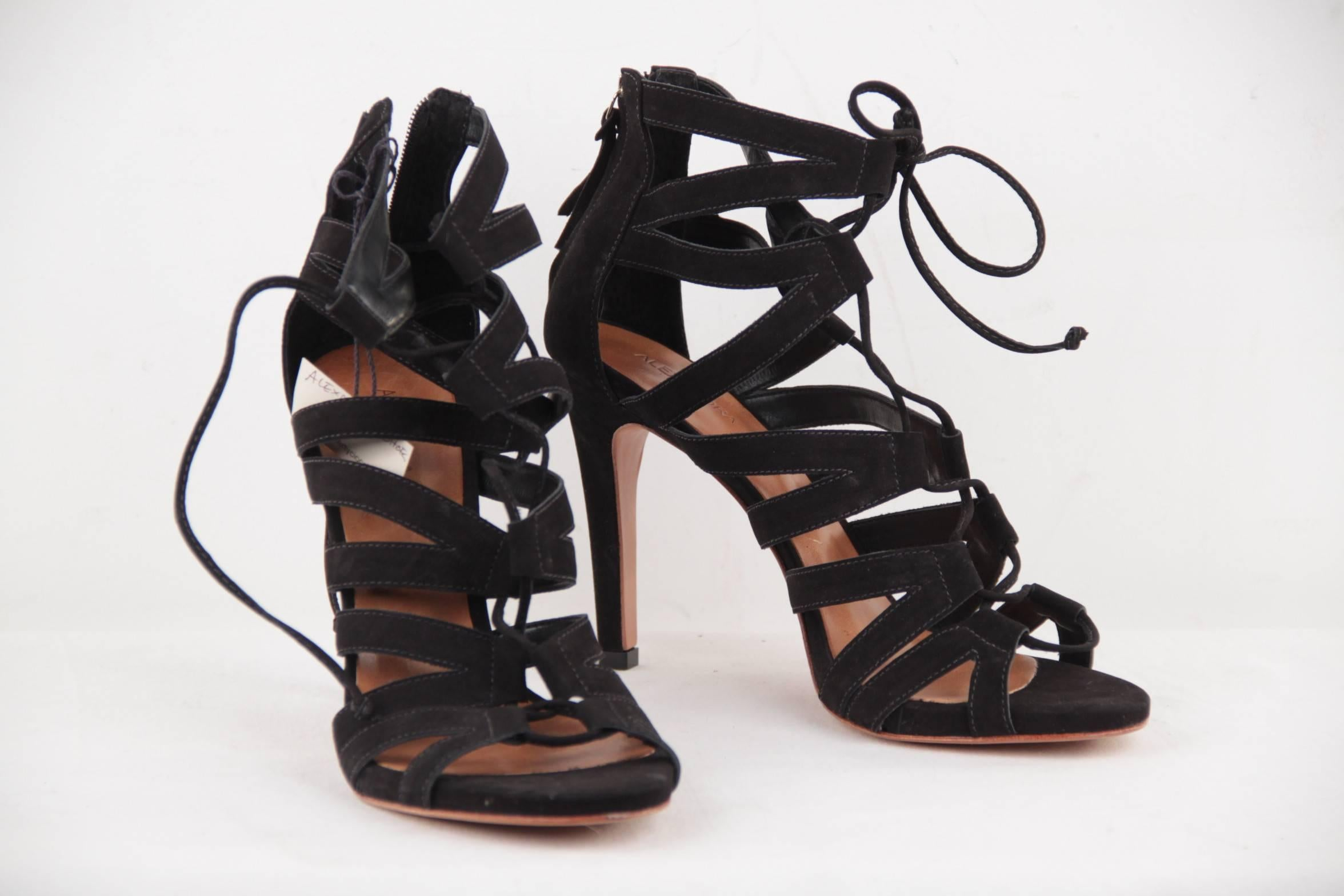 33cfde452 ALEXANDRA ROMA Black Suede LACE UP AMAZON Heeled SANDALS SHOES Pumps Sz 39  For Sale at 1stdibs