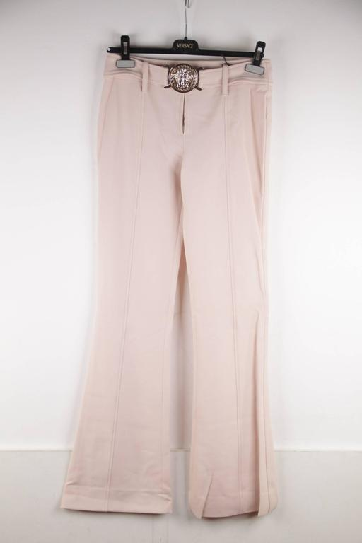 VERSACE Pink Stretch Wool TROUSERS Pants MEDUSA 2005 Fall Collection Sz 40 IT 2