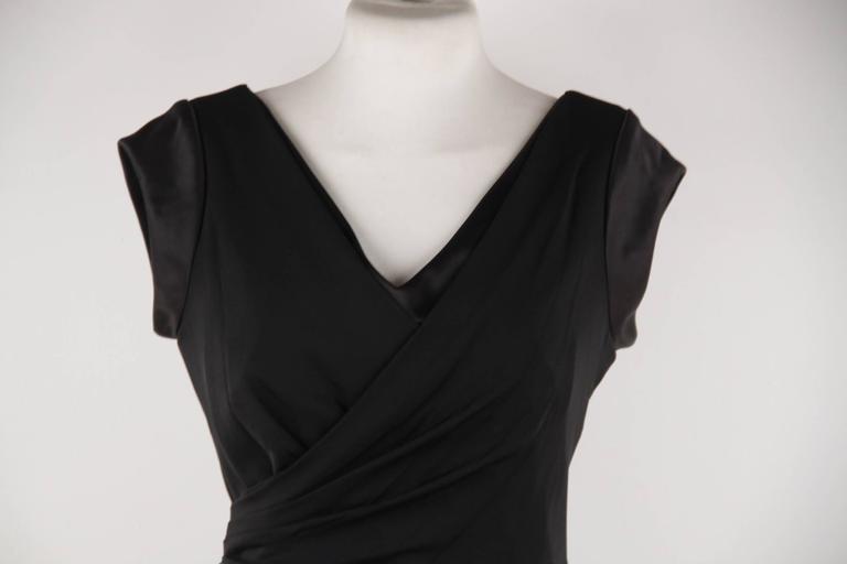 Black VERSACE Italian V Neck LITTLE BLACK DRESS Sheath w/ Drape Front SIZE 40 For Sale