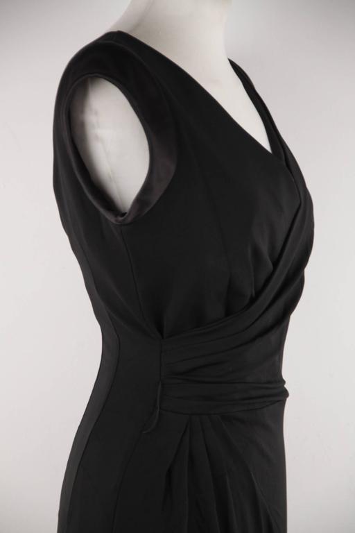 Women's VERSACE Italian V Neck LITTLE BLACK DRESS Sheath w/ Drape Front SIZE 40 For Sale