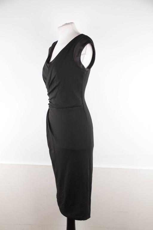 VERSACE Italian V Neck LITTLE BLACK DRESS Sheath w/ Drape Front SIZE 40 For Sale 1