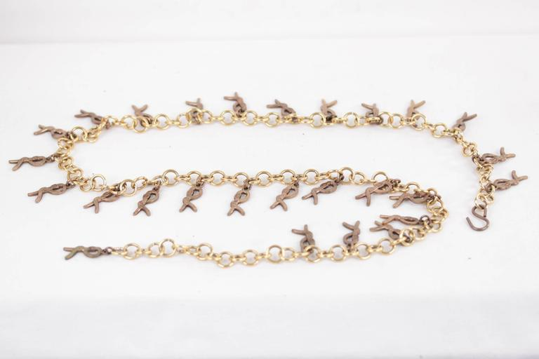 ROBERTA DI CAMERINO Vintage Gold Metal R LOGO Pendant CHAIN BELT NECKLACE  4