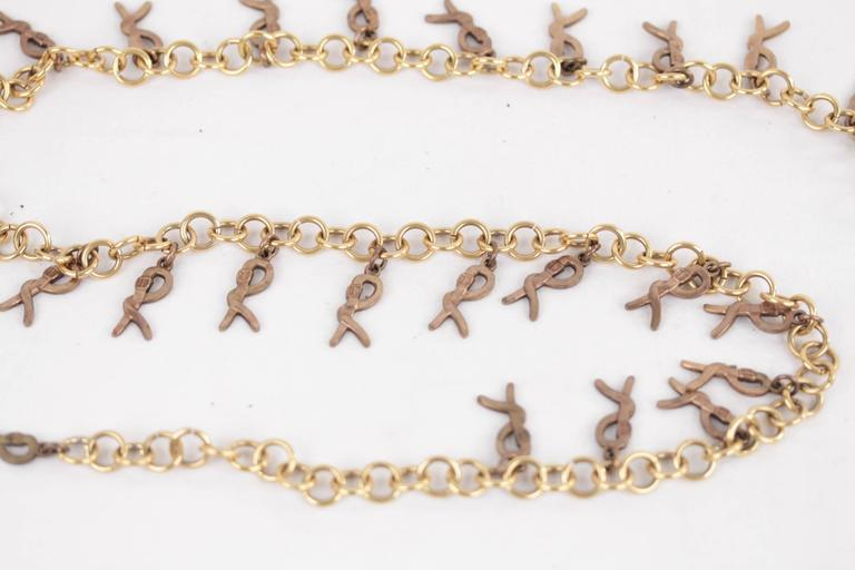 ROBERTA DI CAMERINO Vintage Gold Metal R LOGO Pendant CHAIN BELT NECKLACE  2