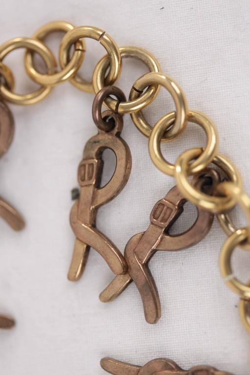 ROBERTA DI CAMERINO Vintage Gold Metal R LOGO Pendant CHAIN BELT NECKLACE  3