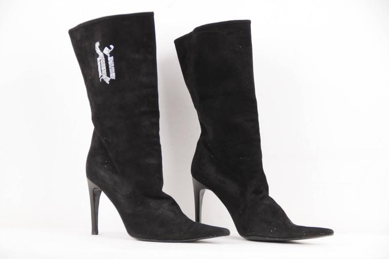 VERSACE Black Suede MID CALF BOOTS Stiletto HEELS w/ Rhinestones Sz 39 IT In Good Condition For Sale In Rome, Rome