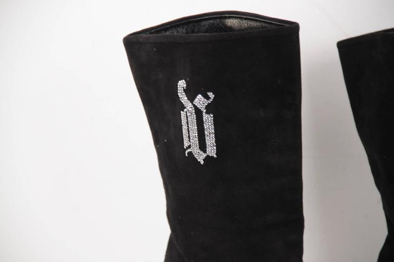 Women's VERSACE Black Suede MID CALF BOOTS Stiletto HEELS w/ Rhinestones Sz 39 IT For Sale