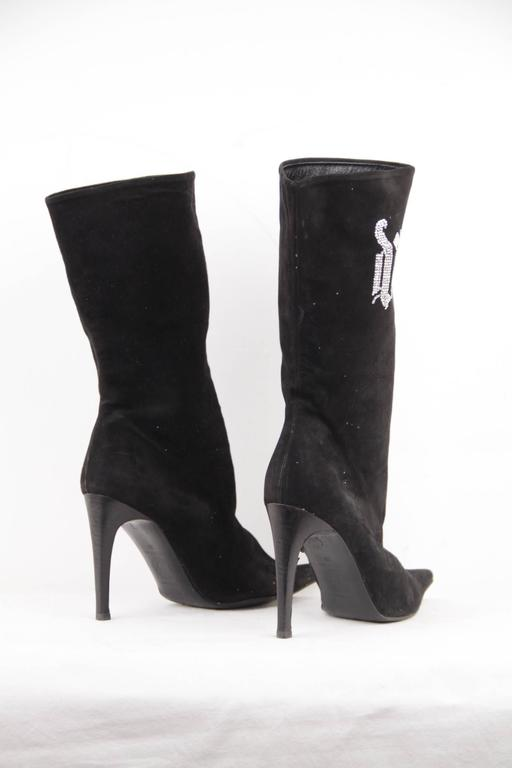 VERSACE Black Suede MID CALF BOOTS Stiletto HEELS w/ Rhinestones Sz 39 IT For Sale 1